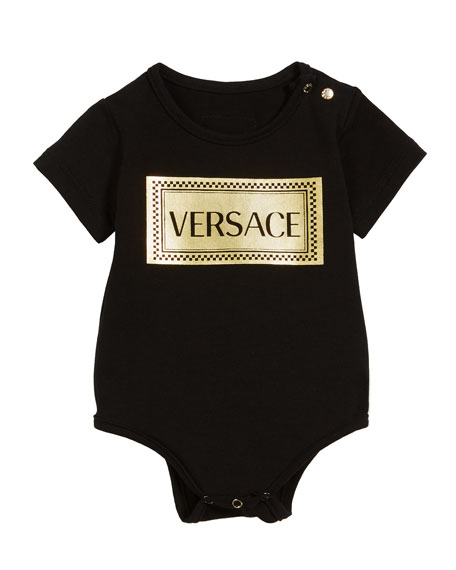 Versace Metallic Box Logo Bodysuit, Size 3-12 Months