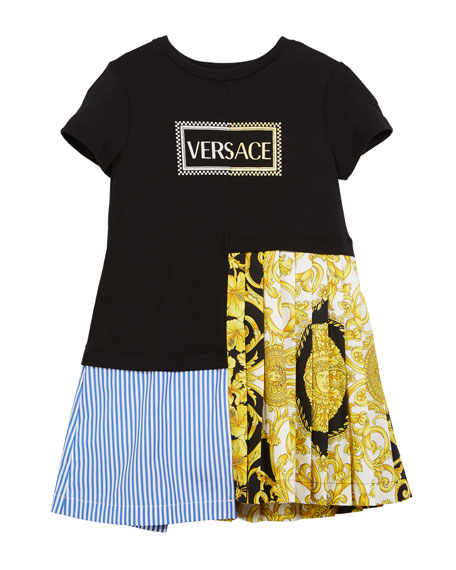 Versace Mixed Material Barocco-Print Dress, Size 11-14