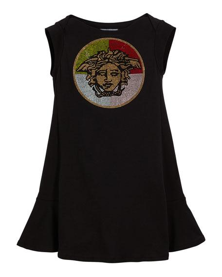 Versace Multicolored Stud Medusa Logo Dress, Size 11-14