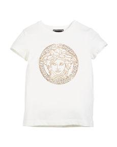 b90dec82 Versace Medusa Head Strass Logo Tee, Size 4-6 | Neiman Marcus