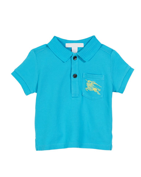 Burberry Grant Knit Pique Short-Sleeve Polo, Size 6M-2