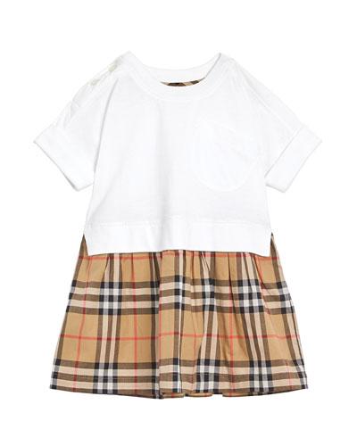 Short-Sleeve T-Shirt & Plaid Skirt Dress, Size 6M-2