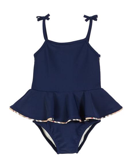 Burberry Ludine Check-Trim One-Piece Swimsuit w/ Skirt, Size 6M-2