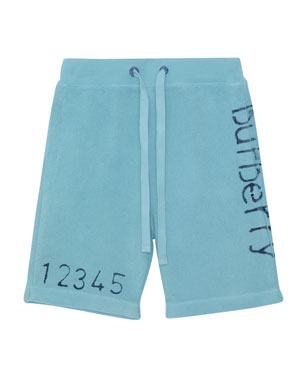 a27e2ab1068d8 Burberry Damien Logo & Numbers Knit Drawstring Shorts, ...