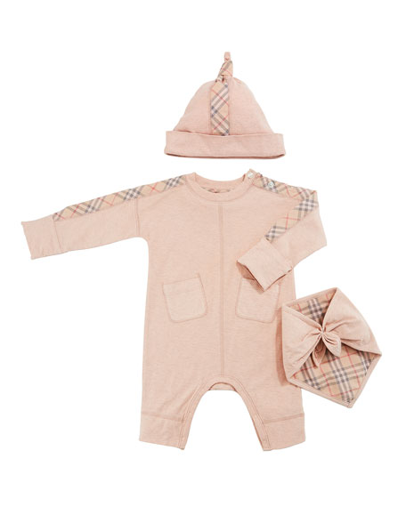 Burberry Colby Check-Trim 3-Piece Layette Set, Size 1-9 Months