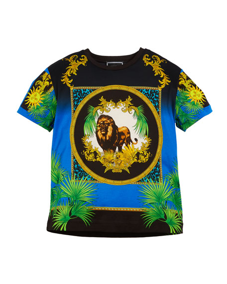 Versace Short-Sleeve Lion Graphic Tee, Size 8-10