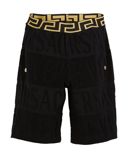 Versace Spugna Logo Shorts, Size 4-6