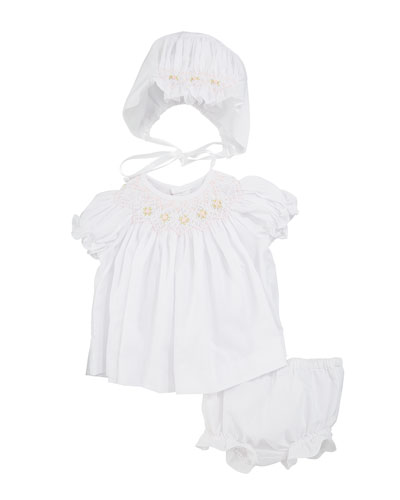 Smocked Bishop Dress w/ Bonnet & Bloomers, Size Newborn-9 Months
