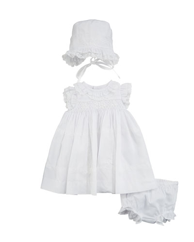 Lace & Ruffle Dress w/ Matching Bonnet & Bloomers, Size Newborn-9 Months