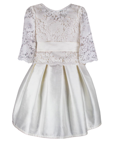 Isabel Garreton Fable Silk Dress w/ Lace Overlay Top, Size 6-8
