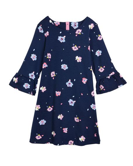 Joules Christina Floral Ruffle-Cuffs Dress, Size 3-10