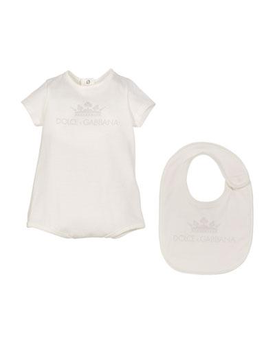 Crown D&G Logo Bodysuit w/ Matching Bib, Size 0-9 Months