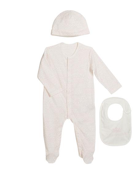 Dolce & Gabbana Logo-Print Footie Pajamas w/ Matching Baby Hat & Bib, Size 0-9 Months