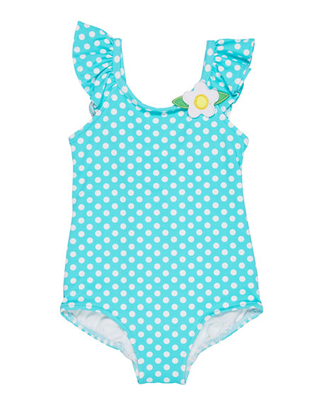 Florence Eiseman Polka-Dot Ruffle-Sleeves One-Piece Swimsuit, Size 6-24 Months