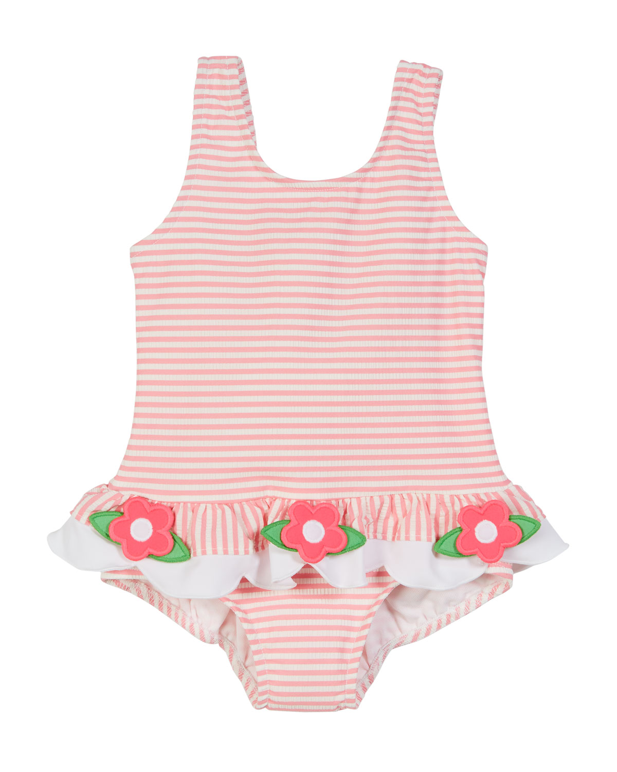 2045a20753 Florence Eiseman Striped Seersucker Ruffle-Skirt One-Piece Swimsuit, Size 2- 6X