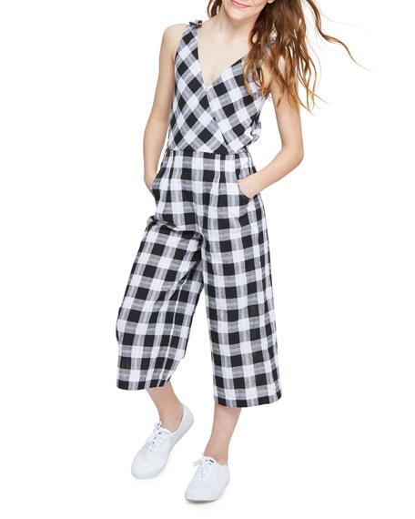 Habitual Kasie V-Neck Plaid Jumpsuit, Size 7-14