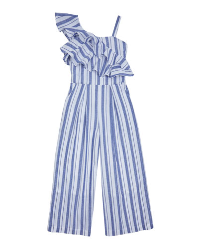 Jaxon Stripe One-Shoulder Ruffle Jumpsuit  Size 7-14