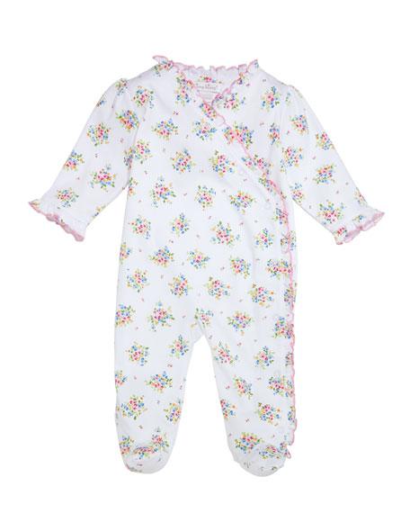 Kissy Kissy Petite Pansies Ruffle-Trim Pima Footie Playsuit, Size Newborn-9 Months