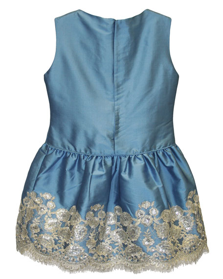 Isabel Garreton Taffeta Sequin-Hem Sleeveless Dress, Size 7-10