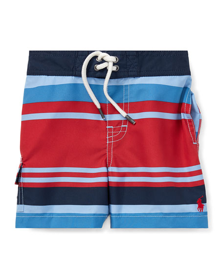 Ralph Lauren Childrenswear Kailua Striped Swim Trunks, Size 12-24 Months