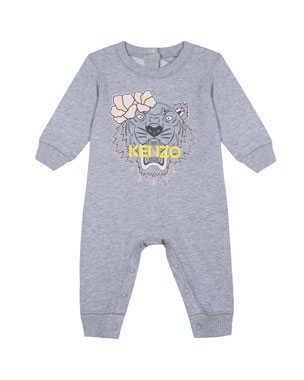 c1bb9ee18 Kenzo Flower Tiger Logo Heathered Coverall, Size 3-18 Months