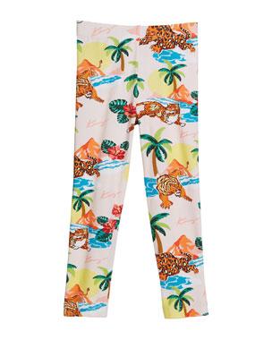 3e17c68b781 Kenzo Tiger Palm Tree Print Leggings