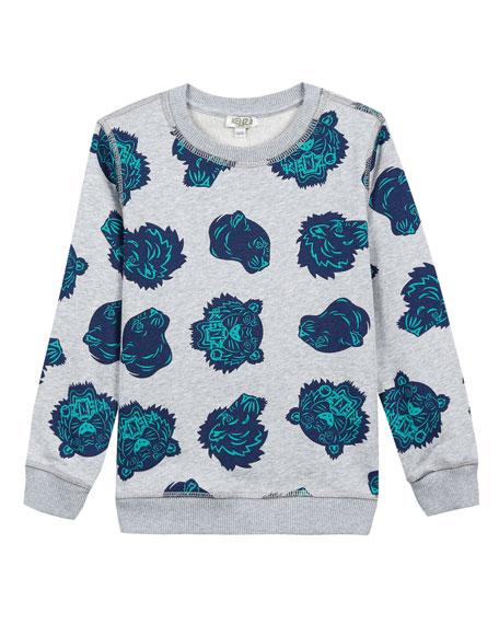 Kenzo Allover Tiger Head-Print Sweatshirt, Size 5-6
