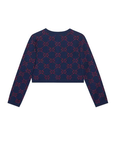 Gucci Lurex GG Supreme Jacquard Half Cardigan, Size 4-12