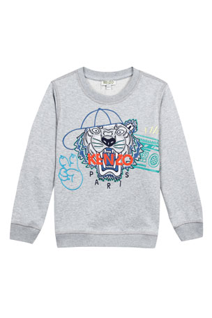 Kenzo Tiger in Baseball Cap Embroidered Sweatshirt, Size 2-4