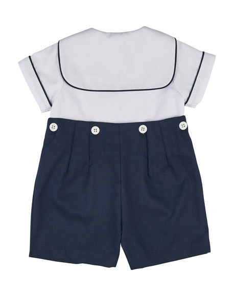 Image 2 of 2: Finewale Pique Navy Short Wh