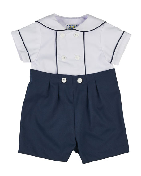 Image 1 of 2: Finewale Pique Navy Short Wh