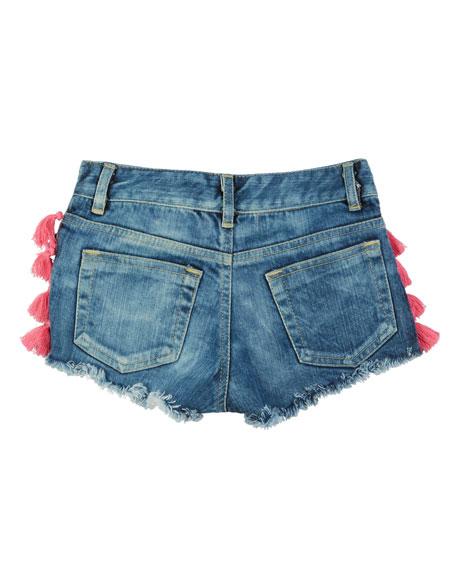 Flowers By Zoe Tassel & Pompom Raw-Edge Denim Shorts, Size S-XL