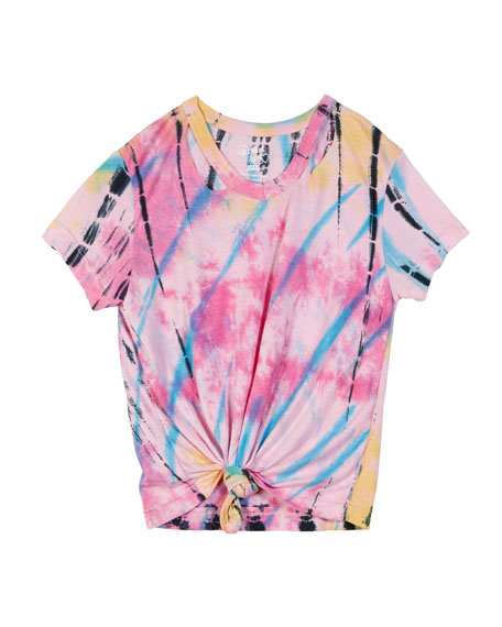 Flowers By Zoe Short-Sleeve Slit-Neck Tie-Dye Tee w/ Knotted Front, Size S-XL