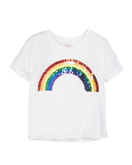 Flowers By Zoe Sequin Rainbow Tee, Size S-XL