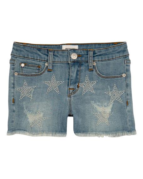 Hudson Girls' Celestina Distressed Studded Star Shorts, Size 7-16