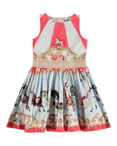 Carli Carousel-Print Woven Dress  Size 2T-14