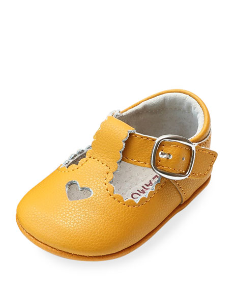 L'Amour Shoes Rosale Heart Cutout Leather Mary Jane Crib Shoes, Baby