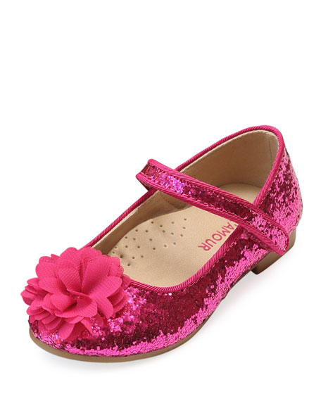 L'Amour Shoes Alice Sparkly Glitter Flower Flats, Baby/Toddler/Kids