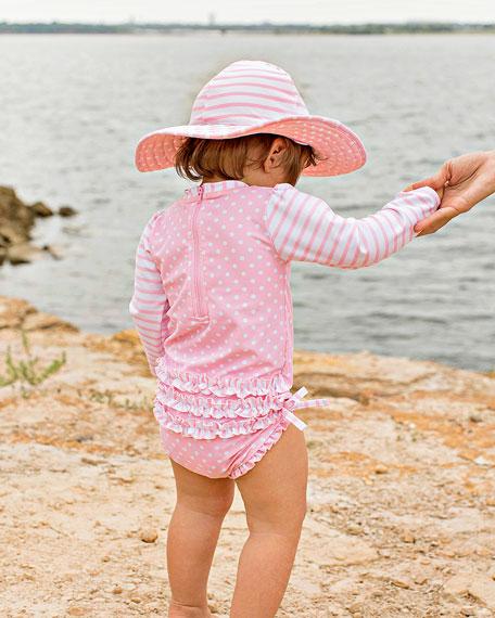 RuffleButts Seersucker & Polka-Dot 3-Piece Swim Layette Set, Size 3-24 Months