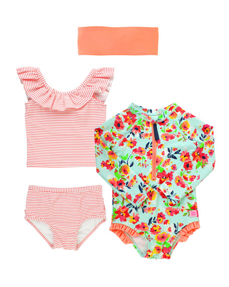 RuffleButts Painted Flowers & Striped 4-Piece Layette Set, Size 2-8