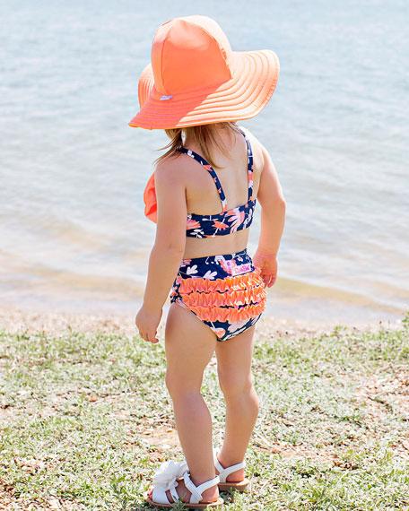 RuffleButts Botanical Beach 5-Piece Swim Layette Set, Size 2-10