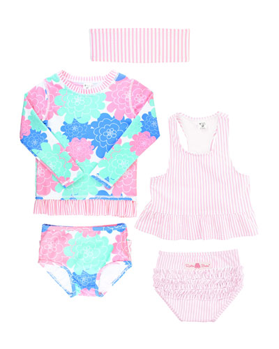 Petals & Seersucker 5-Piece Swimsuit Layette Set  Size 2-8