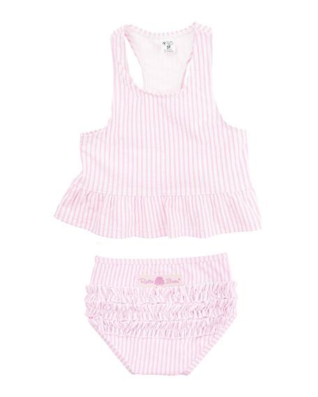 RuffleButts Petals & Seersucker 5-Piece Swimsuit Layette Set, Size 2-8