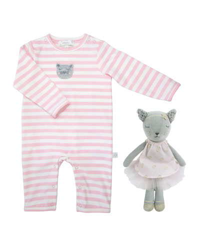 Striped Coverall w/ Crochet Cat Doll  Size 0-12 Months