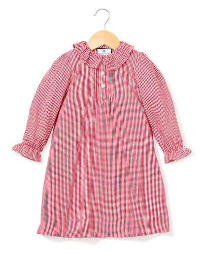 Victoria Ruffle-Collar Gingham Nightgown  Size 6M-14