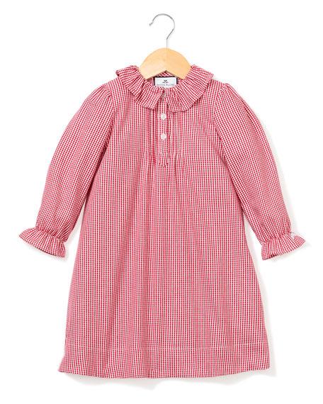 Petite Plume Victoria Ruffle-Collar Gingham Nightgown, Size 6M-14
