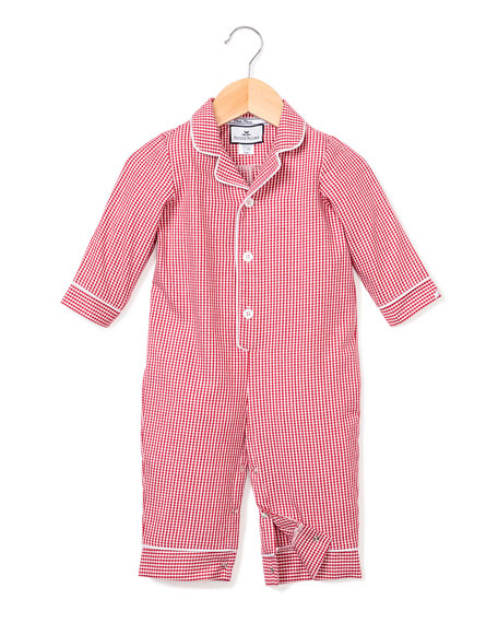 Image 1 of 2: Petite Plume Mini Gingham Coverall, Size 0-24 Months