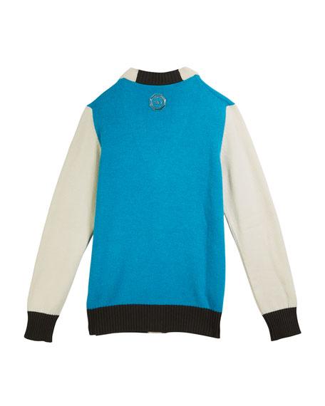 Stefano Ricci Colorblock V-Neck Cashmere Cardigan, Size 12