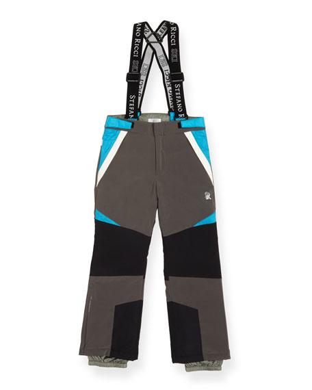 Stefano Ricci Boys' Colorblock Ski Pants with Suspenders, Size 10-14