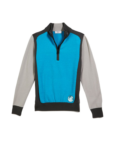 Stefano Ricci Boys' Colorblock Mock-Neck Sweater, Size 10-14